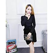 16 nuevas mujeres&# 39; s otoño e invierno moda dulce temperamento delgado sexy cuello en V de manga larga vestido cintura correa