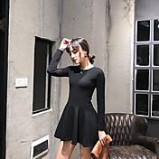 Signo 2016 invierno nueva versión coreana de damas dulces de manga larga vestido de respaldo femenino era hojaldre delgado