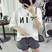 Signo letras grandes sueltas letras impresas vendaje casual camiseta femenina gruesa mm algodón blusa 6535