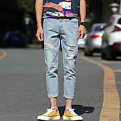 夏2017人の夏'明るい色のジーンズの穴9パンツパンティストッキング野生のパンツの男性'カジュアルパンツ