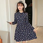 スリム2017春新しい韓国の女性はひょろっと腰小さなデイジープリントドレスの底打ちした署名