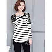 Signo primavera y el otoño de punto de la sección larga de las mujeres de gran tamaño cordón hilo vacío costura rayas camisa de manga
