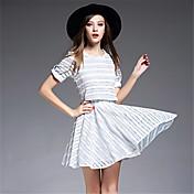 vestido de la manera del verano 2016 signo franja fresco viento pequeño fragante falsificación dos de manga corta de encaje bordado