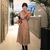 春先に17 /有名なシックな貴族の気質ハーフハイト・ラウンドネック長袖花柄のドレスをフラウンススピーカー