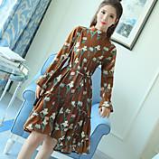 新しい春の花のベーススカート韓国の薄い長袖のドレス女性の野生の長いセクションのスカート