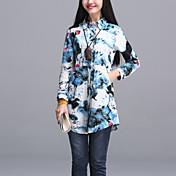 女性の長袖シャツ緩い大きなヤードの韓国ファンの兆候2017年春に新しい印刷の長いセクション