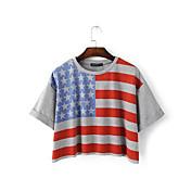 2016年の夏の新しいヨーロッパ、アメリカとアメリカの旗がゆるい通りの野生の短い段落のロシTシャツを印刷