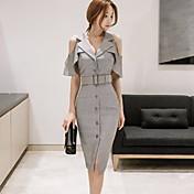 Mujer Corte Bodycon Vestido Noche TrabajoUn Color Escote en Pico Hasta la Rodilla Manga Corta Algodón Verano Tiro Medio Rígido Medio