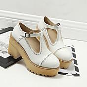 Mujer-Media plataforma-Confort-Tacones-Informal-PU-Blanco Negro