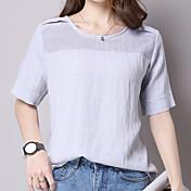 signo de 2016 del verano del nuevo algodón de manga corta blusa de color sólido hueco alrededor del cuello de la camiseta de gran tamaño