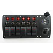 Iztoss rojo led dc12 / 24v 6 banda on-off interruptor basculante panel curvado cargador de energía 3.1a usb sockets y disyuntor con