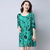 Signo de primavera y verano de gama alta de impresión temperamento salvaje coreano retro era vestido de mujer flocado femenina fina
