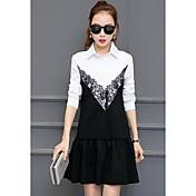 Nuevas mujeres pequeño viento fragante falso dos vestido de manga larga versión coreana de la pequeña camisa de vestir negro costura marea