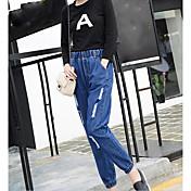2017 versión coreana del resorte de los pantalones vaqueros del punto 9 del agujero del pie del elástico y de la gird