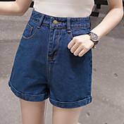 2017 primavera y verano nueva versión coreana era delgada cintura elástica una palabra amplia pierna de mezclilla pone en cortocircuito