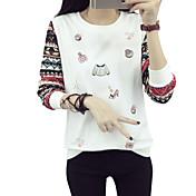 印刷をステッチ新しい大きいサイズの長袖ラウンドネック長袖Tシャツの女性の2017年春の韓国語バージョンに署名