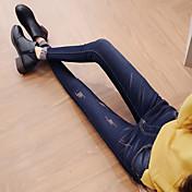 サイン恋人ミューウエストのジーンズ女性の韓国語バージョンは、薄いスリムパンツプラス厚いビロードのストレッチパンツの足鉛筆でした
