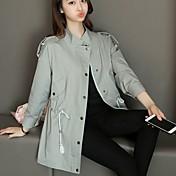 # 2698 otoño nueva versión coreana de la sección larga de color sólido de color sólido viajero hembra de manga larga verde rompevientos