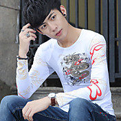 Hombre Simple Uso Diario Escuela Cita Vacaciones Calle Primavera Otoño Camiseta,Escote Redondo Florales Manga Larga Algodón Medio
