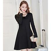 Signo 2017 primavera nueva versión coreana de delgado fino bottoming falda casco este pequeño vestido negro vestido de una línea de swing