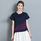 8017 mujeres nuevas del verano&# 39; s nacional de algodón de viento suelta de manga corta modelos camiseta salvaje