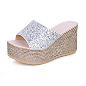 Mujer Zapatos Purpurina Verano Confort Sandalias Paseo Tacón Cuña Puntera abierta Poroso Para Casual Dorado Negro Plata