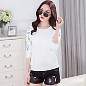 Firmar nuevas mujeres coreanas de primavera&# 39; s cuello redondo de manga larga cultivar camisetas de gran tamaño impreso camisetas
