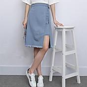 Versión coreana falsos dos faldas de mezclilla, una palabra con flecos 2017 de verano