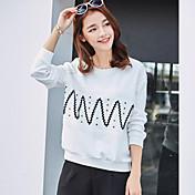 Realmente haciendo primavera de 2017 nuevas mujeres coreanas simple cuello redondo era delgada suelta de manga larga camiseta