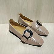 MujerSuelas con luz-Zapatos de taco bajo y Slip-Ons-Informal-PU-Negro Marrón Almendra