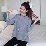Mujer Simple Casual/Diario Camisa,Escote Redondo A Rayas Manga Larga Algodón Fino