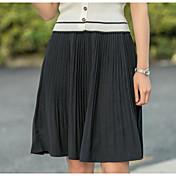Mujer Tiro Alto Asimétrico Faldas,Línea A Un Color