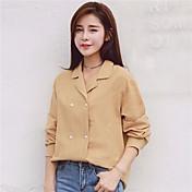 Mujer Simple Casual/Diario Camisa,Escote Cuadrado Un Color Manga Larga Lino