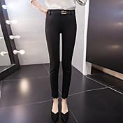 Mujer Sencillo Tiro Alto Microelástico Empresa Pantalones,Delgado Un Color