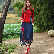 Mujer chinoiserie Tiro Medio Microelástico Chinos Pantalones,Pantalones Harén Un Color