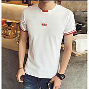 メンズ カジュアル/普段着 Tシャツ,シンプル クルーネック ソリッド プリント コットン 半袖