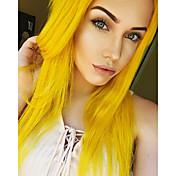 Mujer Pelucas sintéticas Encaje Frontal Medio Largo Liso Amarillo Entradas Naturales Raya en medio Peluca natural Las pelucas del traje