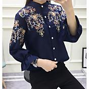 レディース カジュアル/普段着 シャツ,シンプル シャツカラー プリント コットン 長袖 薄手