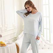 Versión coreana de los nuevos pijamas de algodón femenino de primavera y el otoño de manga larga de algodón de color sólido de dibujos