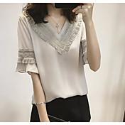 Mujer Simple Casual/Diario Camiseta,Escote en Pico Un Color Algodón Fino