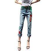レディース ストリートファッション シンプル ミッドライズ ハーレム ルーズ strenchy ジーンズ パンツ ゼブラプリント