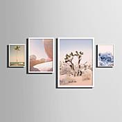 Paisaje Floral/Botánico Palabras y citas Lienzo enmarcado Conjunto enmarcado Arte de la pared,PVC Material Blanco Passepartoutno incluido