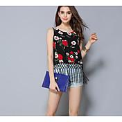 レディース カジュアル/普段着 夏 Tシャツ,シンプル ラウンドネック フラワー コットン 半袖 薄手