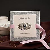 Doblado Lateral Invitaciones De Boda 50-Tarjetas de invitación Estilo clásico Papel de Perla Lazo de Cinta Piedras