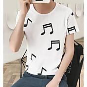 Hombre Simple Casual/Diario Camiseta,Escote Redondo Estampado Manga Corta Algodón Fino