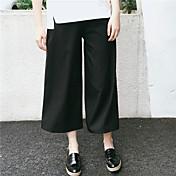 Mujer Sencillo Tiro Medio Alta elasticidad Chinos Pantalones,Perneras anchas Un Color