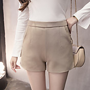 Mujer Sencillo Tiro Alto Microelástico Chinos Pantalones,Perneras anchas Un Color Color puro