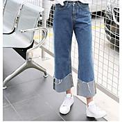 Mujer Chic de Calle Tiro Medio Microelástico Vaqueros Pantalones,Perneras anchas Un Color