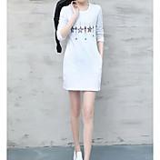 Mujer Simple Casual/Diario Camiseta,Escote Redondo Estampado Manga Larga Algodón Fino