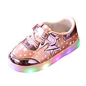 Dívčí Atletické boty Pohodlné PU Jaro Léto Sportovní Ležérní Pohodlné Šněrování LED Plochá podrážka Zlatá Stříbrná Růžová Plochý